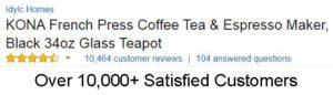 Kona French Press Coffee Tea & Espresso Maker Price