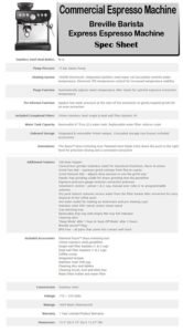 Breville Barista Express Espresso Machine spec sheet