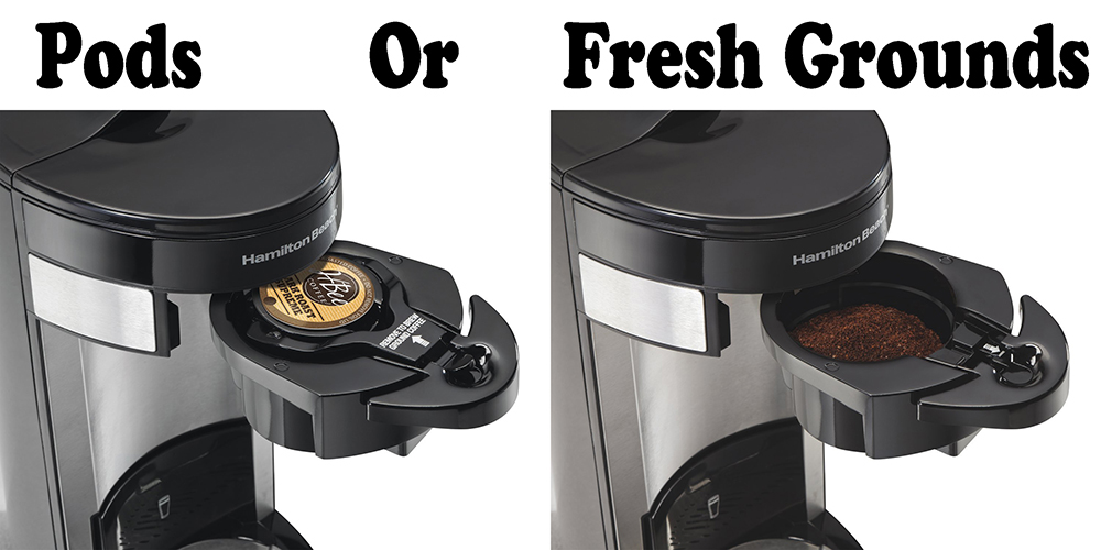 Hamilton Beach Single-Serve Coffee Maker, FlexBrew pods and fresh grounds