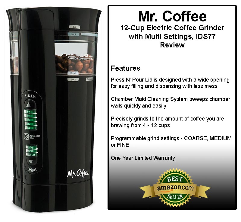 Mr. Coffee IDS77 12 Cup Electric Coffee Grinder with Multi Settings Review