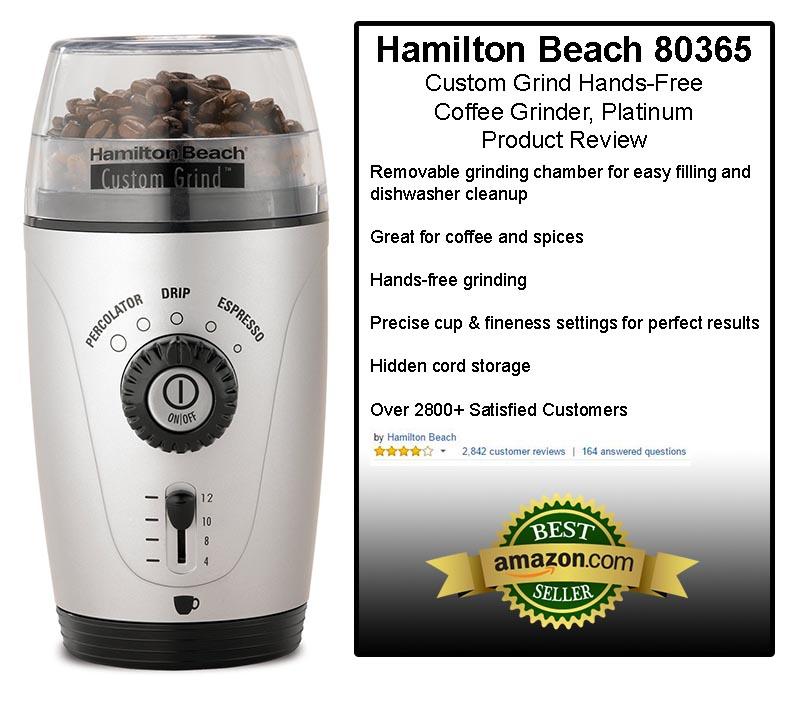 Hamilton Beach 80365 Custom Grind Hands-Free Coffee Grinder, Platinum Review