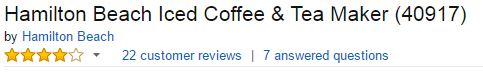 Hamilton Beach Iced Coffee And Tea Maker Customer Ratings