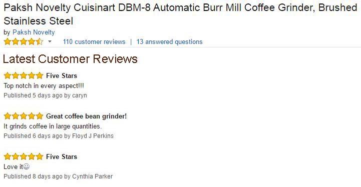 Paksh Cuisinart DBM-8 Supreme Automatic Burr Mill Coffee Grinder Customer reviews