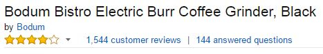 bodum bistro electric burr coffee grinder customer ratings