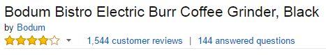 bodum bistro electric burr coffee grinder customer ratings
