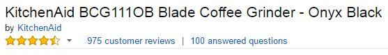 KitchenAid BCG111OB Blade Coffee Grinder Customer Ratings
