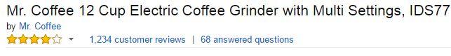 Mr. Coffee IDS77 12 Cup Electric Coffee Grinder Customer Ratings