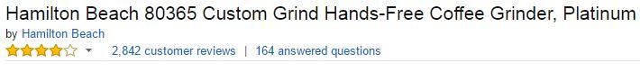 Hamilton Beach 80365 Custom Grind Hands-Free Platinum Coffee Grinder Customer Ratings