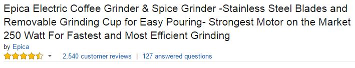 Epica Electric Coffee & Spice Grinder Ratings