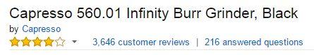 Capresso Infinity Burr Coffee Grinder Customer Ratings