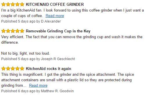 KitchenAid BCG111OB Blade Coffee Grinder Customer Reviews