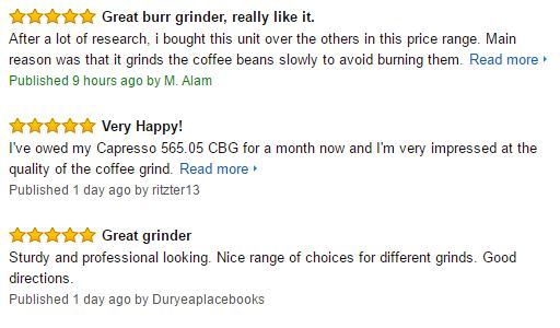 Capresso Infinity Burr Coffee Grinder Customer Reviews