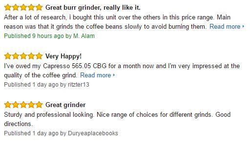 Capresso Infinity Burr Coffee Grinder Customer Reviews