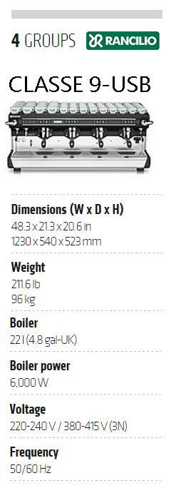 Rancilio CLASSE 9-USB Fully-Automatic Commercial Espresso Machine: Specs