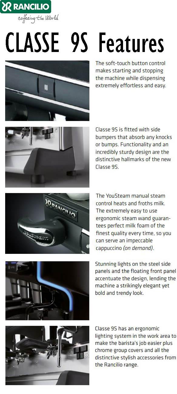 Rancilio CLASSE 9S Semi-Automatic Commercial Espresso Machine Features