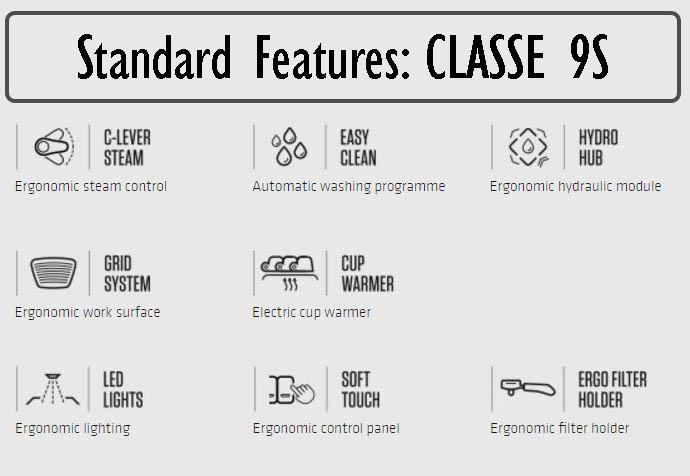 Rancilio CLASSE 9S Commercial Espresso Machine Standard Features