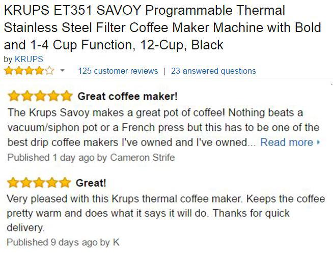 KRUPS ET351 SAVOY Customer Reviews