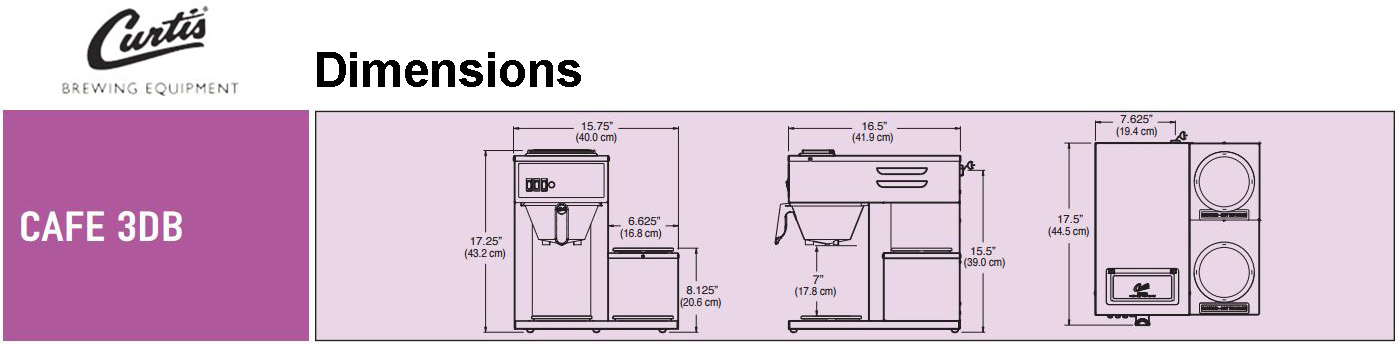 Wilbur Curtis CAFE3DB Commercial Coffee Maker (Pourover) Dimensions