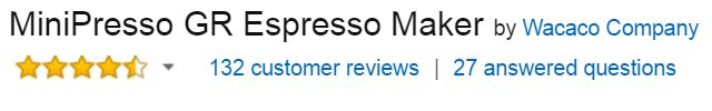 MiniPresso GR Customer Ratings & Reviews