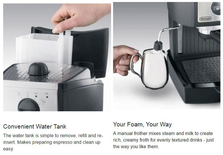 DeLonghi EC155: Manual Frother & Removable Water-Tank