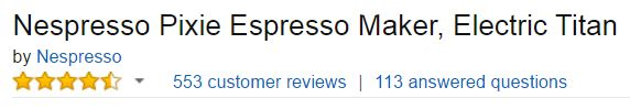 Nespresso Machine Pixie Customer Reviews