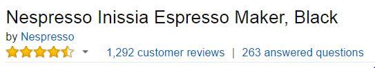 Nespresso Inissia Espresso Maker Customer Ratings