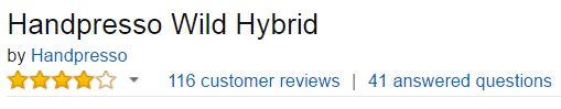 Handpresso Wild Hybrid Customer Ratings