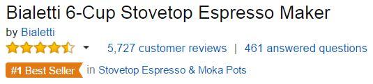 Bialetti Moka Pot Customer Ratings