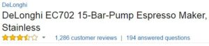 best espresso machine under 200 Delonghi EC702 customer ratings