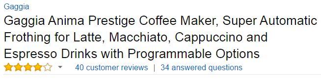 Gaggia Anima Prestige Customer Ratings