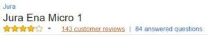 Jura Ena Micro 1 Customer Ratings