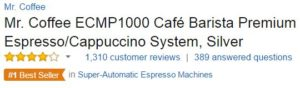 best espresso machine under 200 - Mr. Coffee ECMP1000 Customer Rating