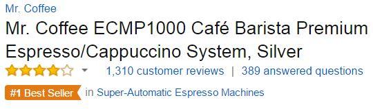best espresso machine under 200 - Mr. Coffee ECMP1000 Customer Rating