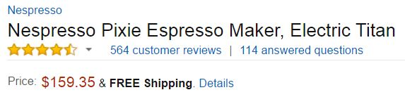 best espresso machine under 200 - Nespresso Pixie Customer Ratings
