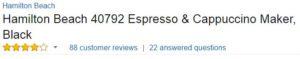 Hamilton Beach Espresso Machine Customer Ratings