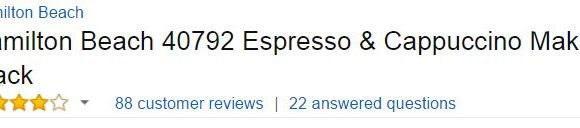 Hamilton Beach Espresso Machine Customer Ratings