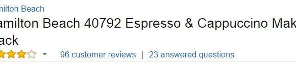 hamilton beach espresso maker Customer Ratings