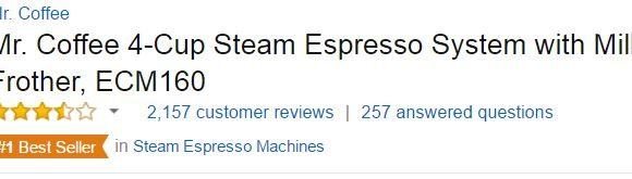 Mr. Coffee ECM160 Customer Ratings