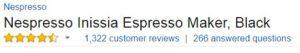 Nespresso Inissia Customer Ratings