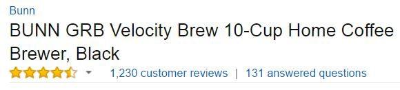BUNN GRB Velocity Coffee Maker - Customer Ratings - Best Coffee Makers