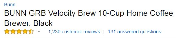 BUNN GRB Velocity Coffee Maker - Customer Ratings - Best Coffee Makers