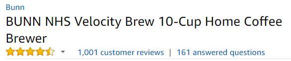 BUNN NHS Velocity Brew Customer Ratings