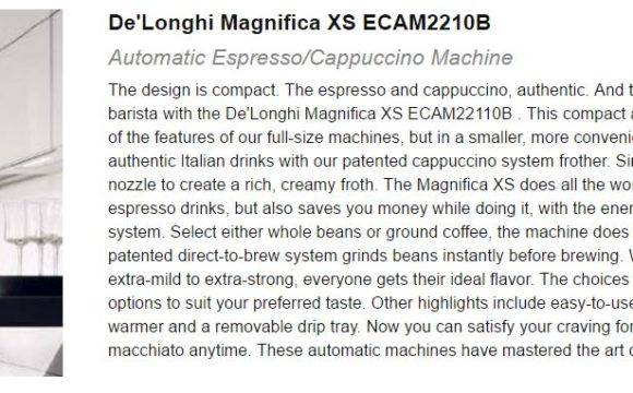 Best Espresso Machine Under 1000 De'Longhi Magnifica XS ECAM2210B