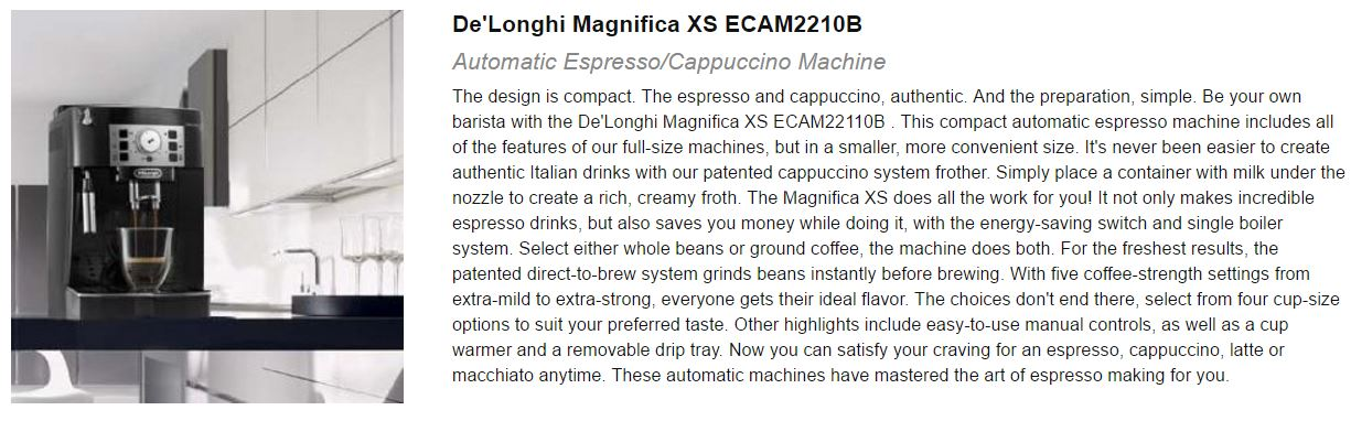 Best Espresso Machine Under 1000 De'Longhi Magnifica XS ECAM22110B