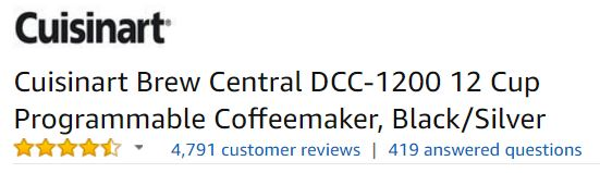 Cuisinart Brew Central DCC-1200