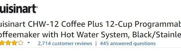 Cuisinart CHW-12 Coffee Plus Customer Ratings
