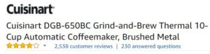 Cuisinart DGB-650BC grind and brew coffee maker customer ratings