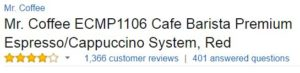 Mr. Coffee Barista System Customer Ratings
