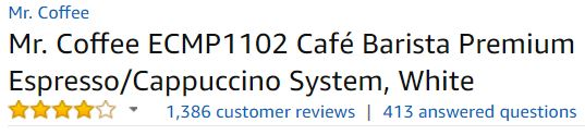 espresso machine customer ratings