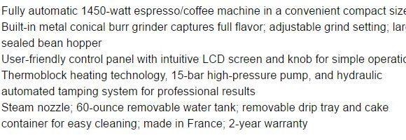 krups espresso machine features